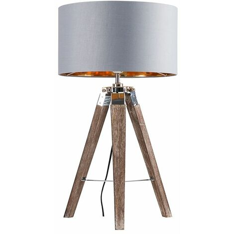 Chrome & Wood Tripod Table Lamp With Large Drum Shade - Grey & Gold - Brown