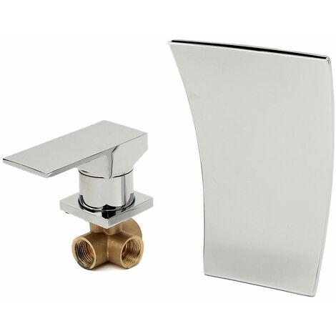 Chromed Bathroom Sink Basin, Waterfall Wall-mounted Mixer Tap, Length 19Cm