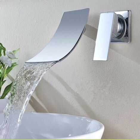 Chromed Bathroom Sink Basin, Waterfall Wall-mounted Mixer Tap, Length 19Cm Hasaki