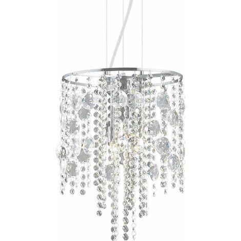 Chromed crystal pendant lamp EVASIONE 4 bulbs