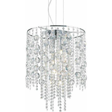 Chromed crystal pendant lamp EVASIONE 8 bulbs