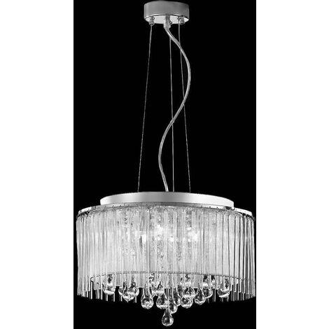Chromed crystal pendant lamp Spirit 6 Bulbs
