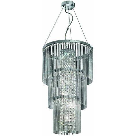 Chromed crystal pendant light Charisma 6 bulbs