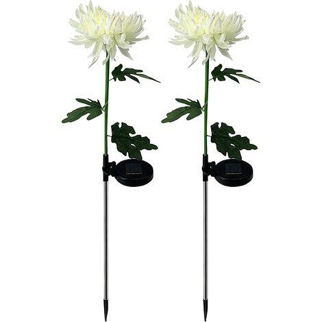 Chrysanthemum Outdoor Solar Light,Chrysanthemum Artificial Solar Garden Stake With Men,Solar Flower Light,Solar Energy for Garden,Patio,Yard,Lawn(B02-2PC)