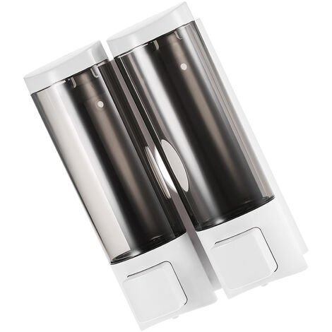 CHUANGDIAN Manual Hand Soap Dispenser Wall Mount Double Liquid Shampoo Shower Gel Dispenser 200mlx2