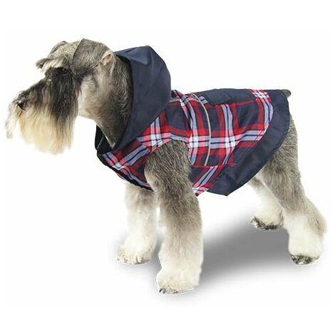 Chubasquero con capucha para perros con estampado a cuadros, disponible en varias opciones