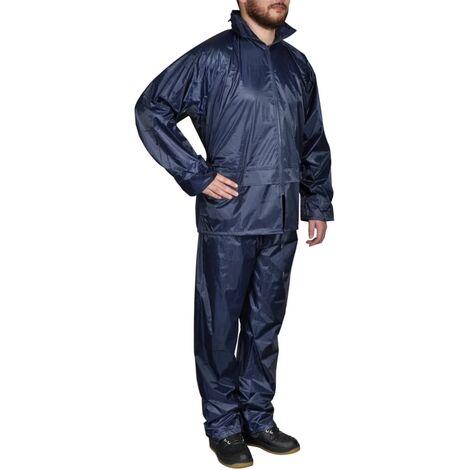 Chubasquero impermeable pantalón sudadera hombre azul marino XL - Azul