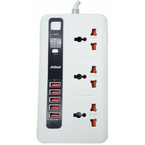 Ciabatta multipresa 5 prese USB 3 prese universali con timer 5V caricatore 3.4A