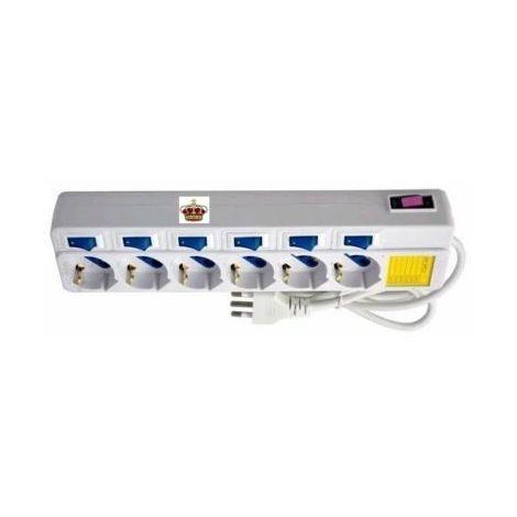 Ciabatta Multipresa 6 Posti Interruttori Indipendenti Elettrica Presa Multipla