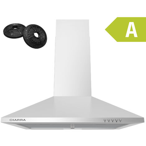 CIARRA 201SS60 Cooker Hood 60cm with 2pcs Carbon Filters 370m3/h Class A Chimney Hood Stainless Steel - White