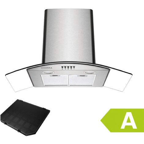 CIARRA 650 m3/h 90CM Cooker Hood 1pc Carbon Filter Class A Stainless Steel Curved Glass Extractor Hood - 506SS90 - Black