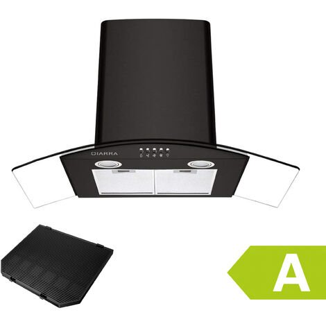 CIARRA Hotte Aspirante 90cm 550 m3/h LED Recyclage Ou Evacuation 3 Vitesses Verre & Inox - Noir - 506BK90