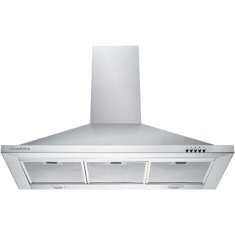 CIARRA Hotte Aspirante 90cm 550m3/h LED Recyclage ou Evacuation 3 Vitesses Inox - 301SS90