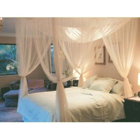 Ciel de Lit Moustiquaire Baldaquin pour Lit Double Protection des Insectes 220 x 200 x 210 CM Blanc