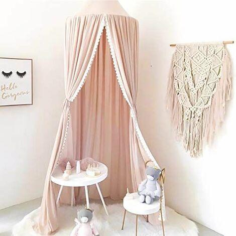 Ciel de lit pour bébé - Moustiquaire en mousseline de soie - Dôme suspendu - Pour chambre d'enfant, chambre à coucher, jeu et lecture - Moustiquaire pour bébé (mousseline avec dentelle, corail)