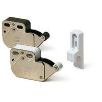 Cierre/expulsador de puertas o toca-toca, fabricado en acero y con acabado blanco