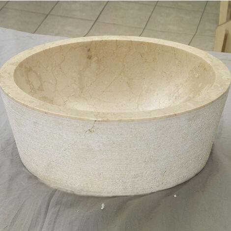 CILINDRO - Lavabo à poser en marbre beige, forme Cylindre (code cilindro_beige)