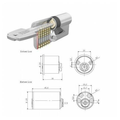 Cilindro tesa seguridad t6ts 40 leva corta cilindro redondo