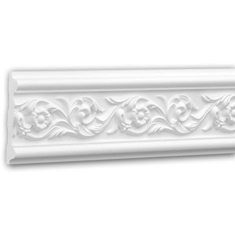 Cimaise 151320 Profhome Moulure décorative style Rococo-Baroque blanc 2 m