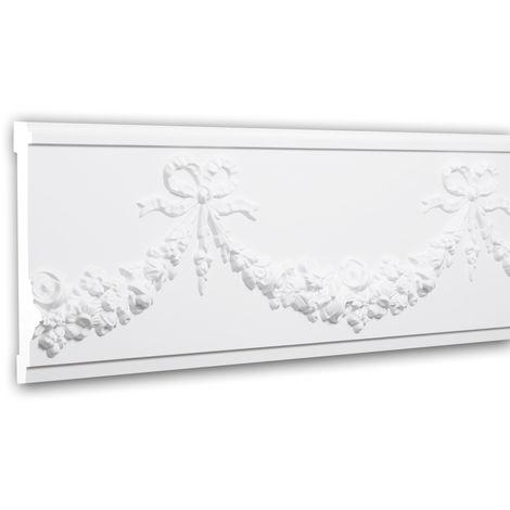 Cimaise 151380 Profhome Moulure décorative Moulure frise style Néo-Empire blanc 2 m