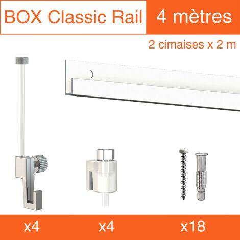 Cimaise Box Artiteq Classic ÉCO blanc + fils perlon 4M - Kit accrochage tableau - Métrage : 4 mètres - couleur : blanc