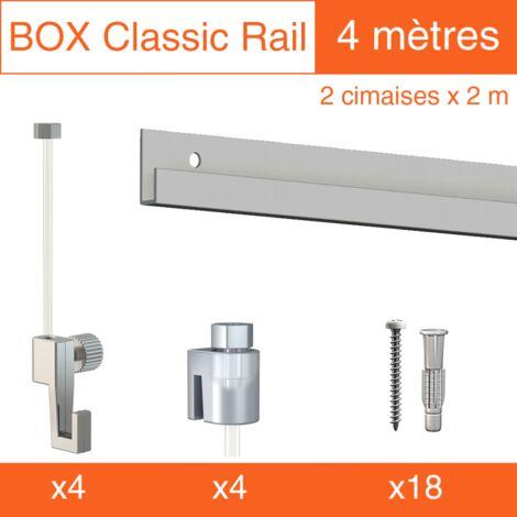 Cimaise Box Artiteq Classic ÉCO Gris + fils perlon - 6 mètres - Kit accrochage tableau - Métrage : 6 mètres - couleur : gris aluminium