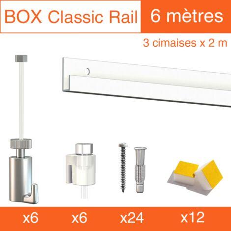 Cimaise Box Artiteq Classic PREMIUM blanc 6 mètres + fil perlon - Kit accrochage tableau - Métrage : 6 mètres - couleur : blanc