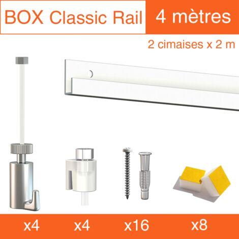 Cimaise Box Artiteq Classic PREMIUM blanc + fil perlon - Kit accrochage tableau - Métrage : 4 mètres - couleur : blanc