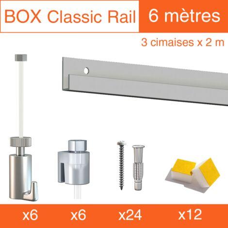 Cimaise Box Artiteq Classic PREMIUM gris + fil perlon 6 mètres - Kit accrochage tableau - Métrage : 6 mètres - couleur : gris aluminium