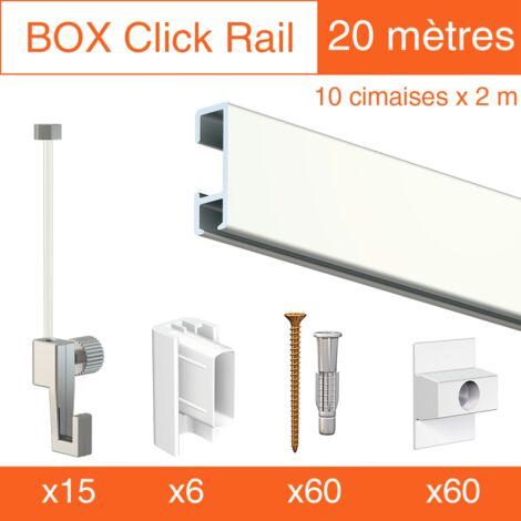 Cimaise Box Artiteq Click ÉCO 20 mètres blanc - Kit accrochage tableau - Métrage : 20 mètres - couleur : blanc laqué
