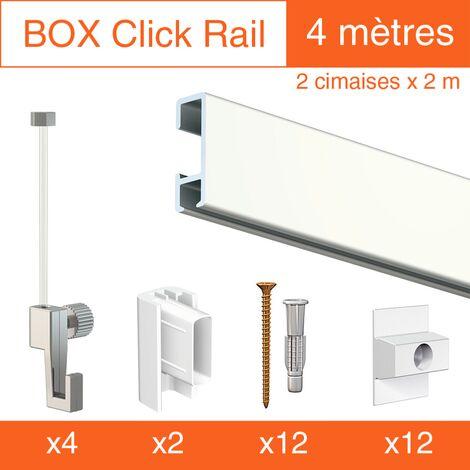 Cimaise Box Artiteq Click ÉCO - Kit accrochage tableau - Métrage : 4 mètres - couleur : blanc laqué