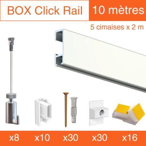 Cimaise Box Artiteq Click PREMIUM 10 mètres blanc - Kit accrochage tableau - Métrage : 10 mètres - couleur : blanc laqué