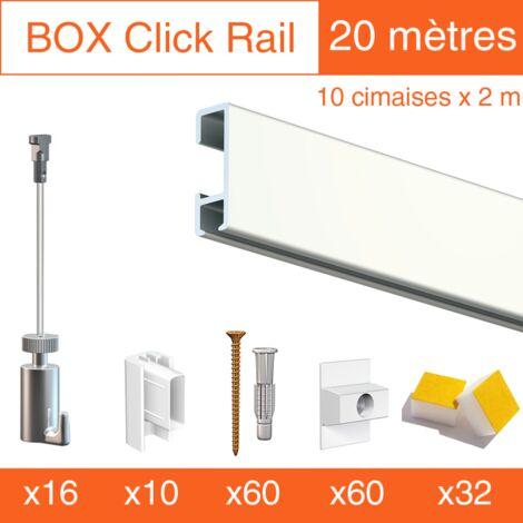 Cimaise Box Artiteq Click PREMIUM 20 mètres blanc - Kit accrochage tableau - Métrage : 20 mètres - couleur : blanc laqué