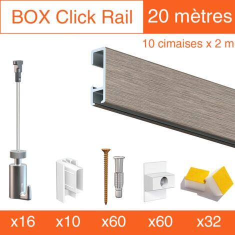 Cimaise Box Artiteq Click PREMIUM 20 mètres gris - Kit accrochage tableau - Métrage : 20 mètres - couleur : alu brossé