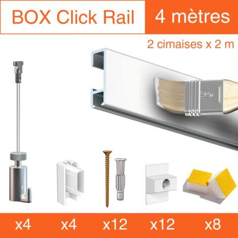 Cimaise Box Artiteq Click PREMIUM - Kit accrochage tableau - Métrage : 4 mètres - couleur : blanc mate à peindre