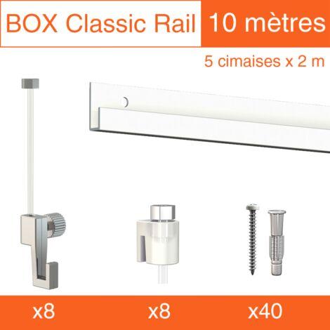Cimaise Box Classic ÉCO blanc 10 mètres + fils perlon - Kit accrochage tableau - Métrage : 10 mètres - couleur : blanc