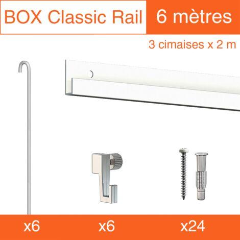Cimaise Box Classic ÉCO blanc tige 2mm 6 mètres - Kit accrochage tableau - Métrage : 6 mètres