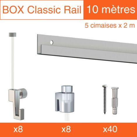 Cimaise Box Classic ÉCO gris alu 10 mètres + fils perlon - Kit accrochage tablea - Métrage : 10 mètres - couleur : gris aluminium