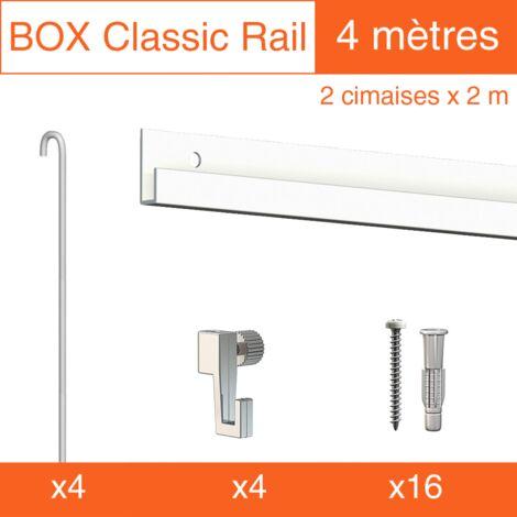 Cimaise Box Classic ÉCO tige 2mm blanc - Kit accrochage tableau - Métrage : 4 mètres