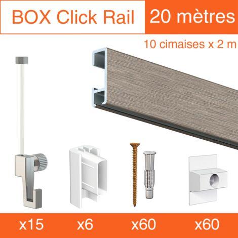 Cimaise Box Click ÉCO 20 mètres gris - Kit accrochage tableau - Métrage : 20 mètres - couleur : alu brossé