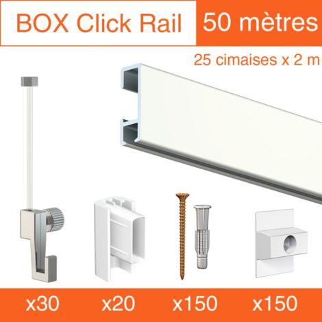 Cimaise Box Click ÉCO 50 mètres blanc - Kit accrochage tableau - Métrage : 50 mètres - couleur : blanc laqué