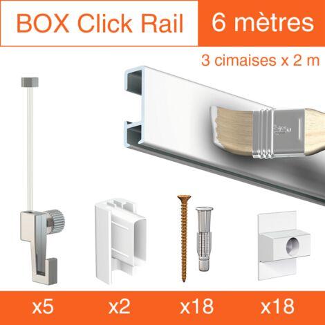 Cimaise Box Click ÉCO 6 mètres blanc à peindre - Kit accrochage tableau - Métrage : 6 mètres - couleur : blanc mate à peindre