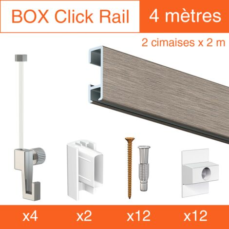 Cimaise Box Click ÉCO - Kit accrochage tableau - Métrage : 4 mètres - couleur : alu brossé