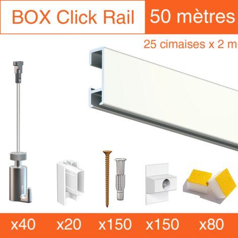 Cimaise Box Click PREMIUM 50 mètres blanc - Kit accrochage tableau - Métrage : 50 mètres - couleur : blanc laqué