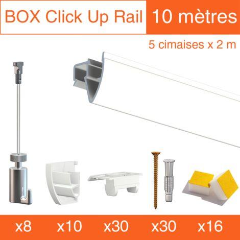 Cimaise Box PREMIUM Artiteq Click Up Plafond 10 mètres blanc - Kit accrochage tableau - Métrage : 10 mètres - couleur : blanc laqué