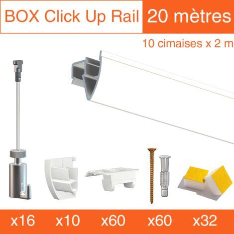 Cimaise Box PREMIUM Artiteq Click Up Plafond 20 mètres blanc - Kit accrochage tableau - Métrage : 20 mètres - couleur : blanc laqué