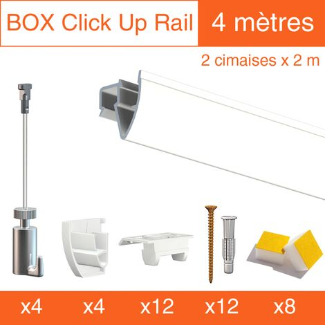 Cimaise Box PREMIUM Artiteq Click Up Plafond 4 mètres- Kit accrochage tableau - Métrage : 4 mètres - couleur : blanc laqué