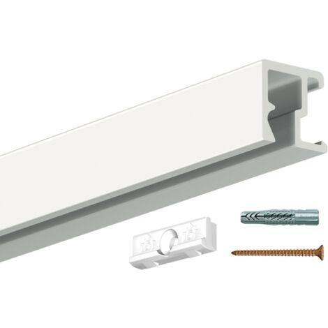 Cimaise Contour Rail 200cm + clip + vis & chevilles - conditionnement : rail à l'unité - couleur : blanc - typedemur : plein / dur