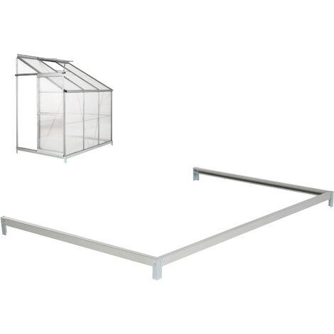 Cimientos para invernadero lateral - base para invernadero de acero, esquinas con estacas para sujetar al suelo, base estable para anclaje al suelo - plata
