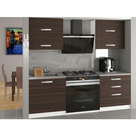 CINDER - Cuisine Complète Modulaire Linéaire L 120 cm 4 pcs - Plan de travail INCLUS - Ensemble armoires cuisine - Châtaigne